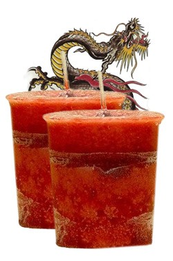 Dragon's Blood Crystal Journey Traditional Votive Candles [ 2 ]