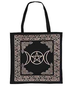 Gold Triple Moon Pentacle Tote Bag