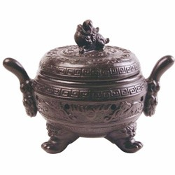 "Incense Burner - Chinese Clay Urn Censer/Burner - 6.5"" x 4.5"" x 5"""