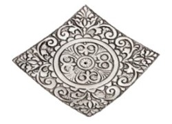 Metal Burner - Recycled Aluminum Floral Square