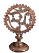 Cone and Stick Om Copper Incense Burner