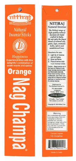 Nitiraj Incense - Orange Nag Champa Incense 25 gram box