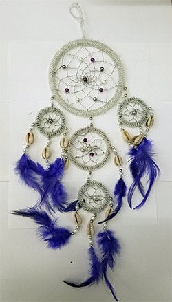 Dream Catcher - Large Quartz Beaded  with Purple Feathers