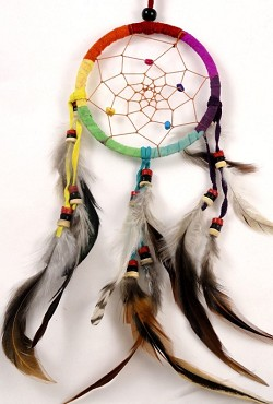Dream Catcher - Leather Rainbow Wrapped