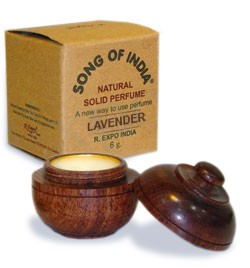 Song of India Solid Perfume in Rosewood Jar - English Lavender